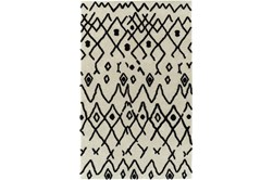 "5'x7'5"" Rug-Shaggy Boho Pattern Ivory/Black"