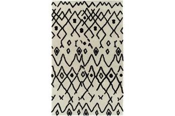 60X90 Rug-Shaggy Boho Pattern Ivory/Black