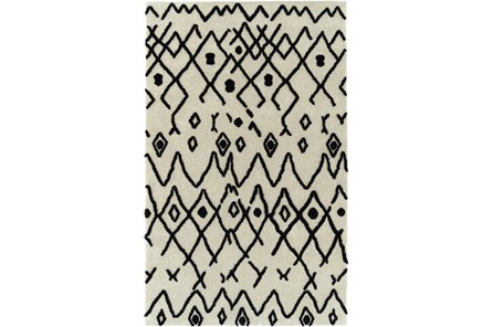 60X90 Rug-Shaggy Boho Pattern Ivory/Black - Main