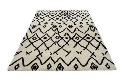 86X120 Rug-Shaggy Boho Pattern Ivory/Black - Main