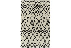 86X120 Rug-Shaggy Boho Pattern Ivory/Black