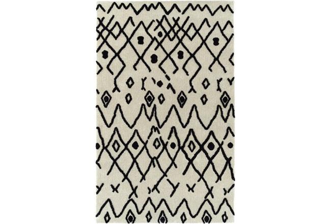86X120 Rug-Shaggy Boho Pattern Ivory/Black - 360