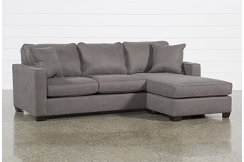"Egan II Charcoal 93"" Sofa With Reversible Chaise"