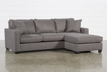 "Egan II Charcoal 93"" Sofa With Reversible Chaise"