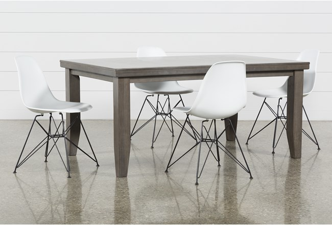 Ashford II 5 Piece Dining Set With Alexa White Chairs - 360