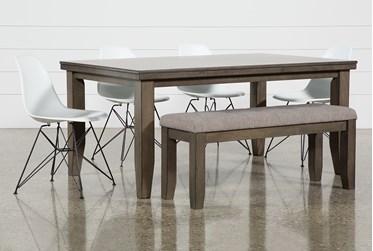 Ashford II 6 Piece Dining Set With Alexa White Chairs