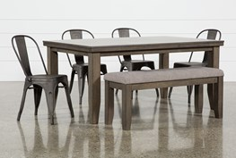 Ashford II 6 Piece Dining Set With Delta Bronze Chairs