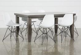 Ashford II 7 Piece Dining Set With Alexa White Chairs