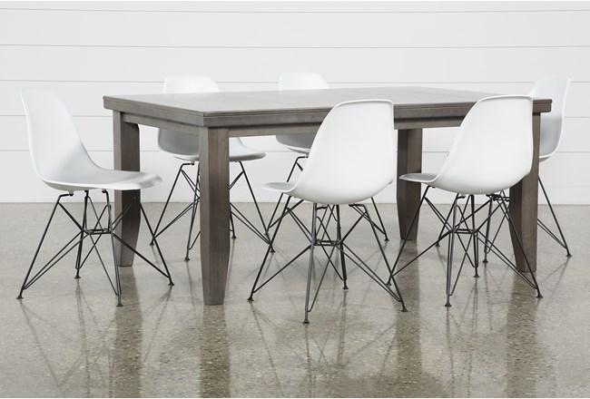 Ashford II 7 Piece Dining Set With Alexa White Chairs - 360