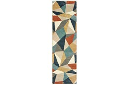 "2'3""x7'5"" Rug-Zion Prism Orange/Aqau Plush Pile"