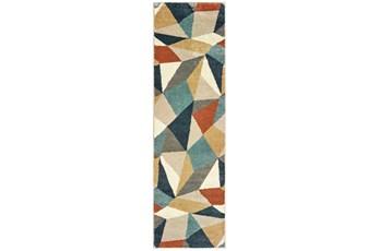 27X90 Rug-Zion Prism Orange/Aqau Plush Pile