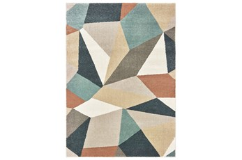 "7'8""x10' Rug-Zion Prism Orange/Aqau Plush Pile"