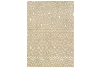 "6'6""x9'2"" Rug-Zion Pattern Taupe Plush Pile"