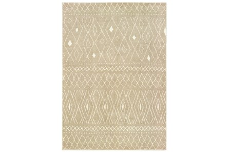79X110 Rug-Zion Pattern Taupe Plush Pile