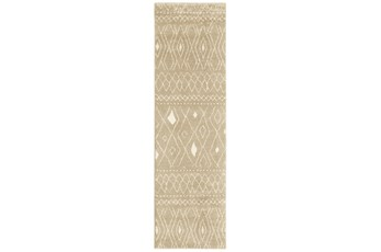 27X90 Rug-Zion Pattern Taupe Plush Pile
