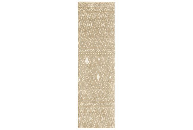 27X90 Rug-Zion Pattern Taupe Plush Pile - 360