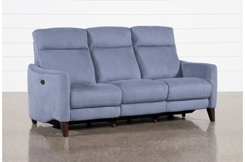 Melina Blue Power Reclining Sofa With Usb