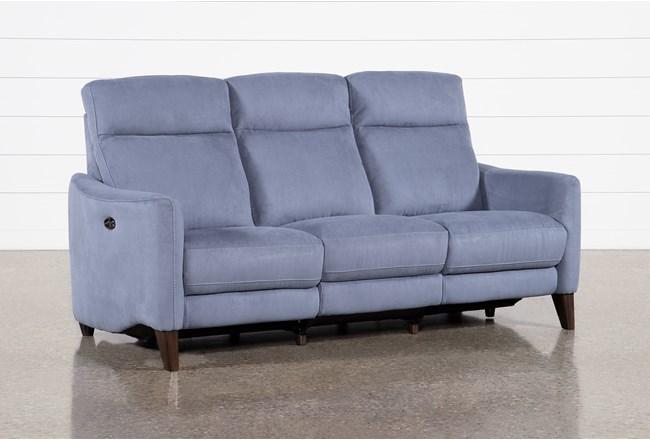 Melina Blue Power Reclining Sofa With Usb - 360