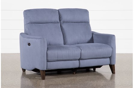 Melina Blue Power Reclining Loveseat With Usb