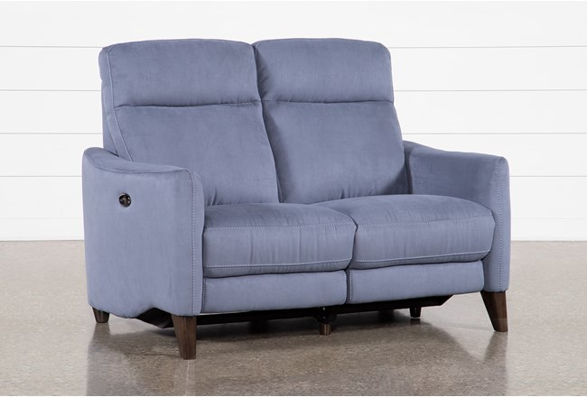 Melina Blue Power Reclining Loveseat With Usb - 360