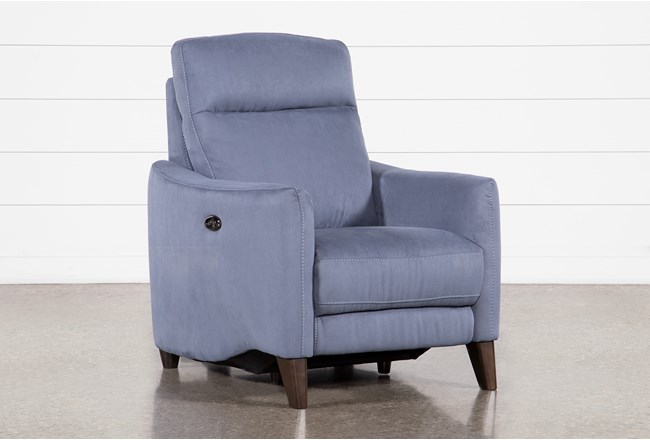 Melina Blue Power Recliner With Usb - 360