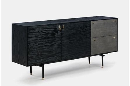 Black Oak TV Stand With Grey Shagreen Drawers - Main