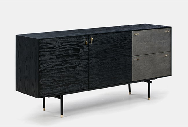 Black Oak TV Stand With Grey Shagreen Drawers - 360