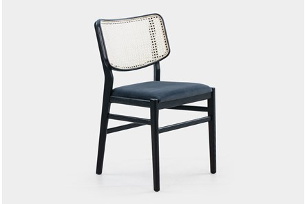 Cane Dining Chair W Black Velvet Seat