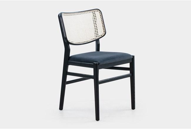 Cane Dining Chair W Black Velvet Seat  - 360
