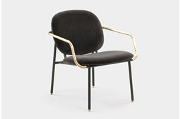 Grey Velvet Brass Arm Lounge Chair