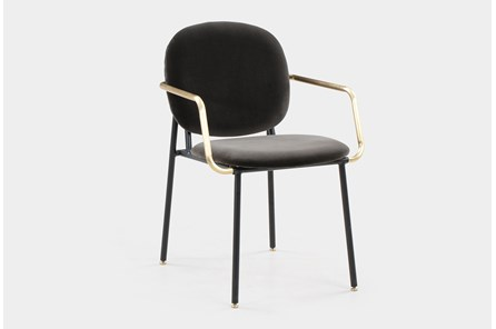 Grey Vevlet Brass Arm Dining Chair