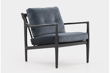 Black Oak Grey Velvet Lounge Chair