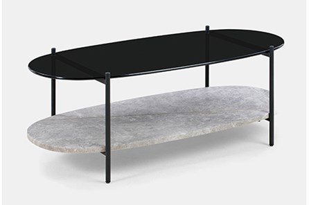 Marble + Smoked Glass Oval Coffee Table
