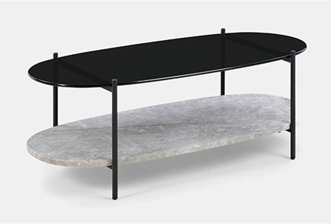 Marble + Smoked Glass Oval Coffee Table - 360