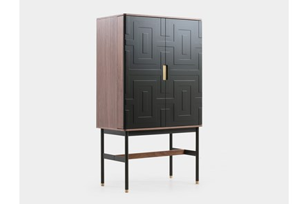 Black + Walnut Geo Pattern Bar Cabinet - Main