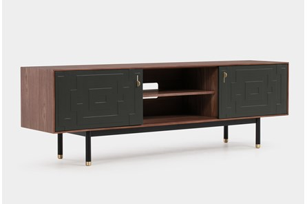 Black + Walnut Geo Pattern Media Console