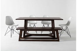 Cleve 6 Piece Rectangle Dining Set With Alexa White Chairs