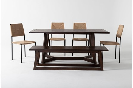 Cleve 6 Piece Rectangle Dining Set With Rattan Chairs