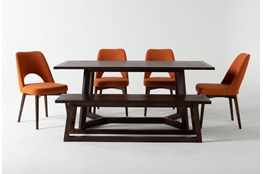 Cleve 6 Piece Rectangle Dining Set With Zuma Orange Chairs