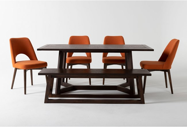Cleve 6 Piece Rectangle Dining Set With Zuma Orange Chairs - 360