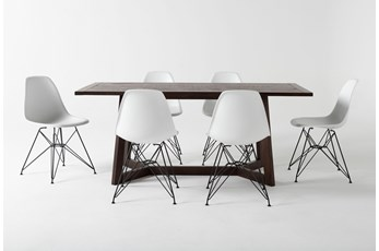 Cleve 7 Piece Rectangle Dining Set With Alexa White Chairs