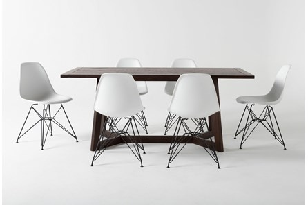 Cleve 7 Piece Rectangle Dining Set With Alexa White Chairs - Main