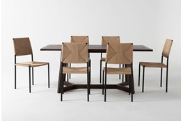 Cleve 7 Piece Rectangle Dining Set With Rattan Chairs