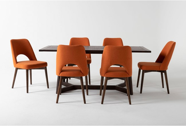 Cleve 7 Piece Rectangle Dining Set With Zuma Orange Chairs - 360