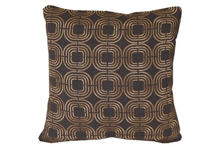 Accent Pillow-Gold Embroidered Links On Black 18X18