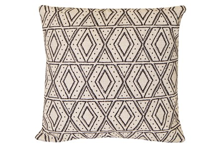 Accent Pillow-Black Diamonds On Linen 20X20