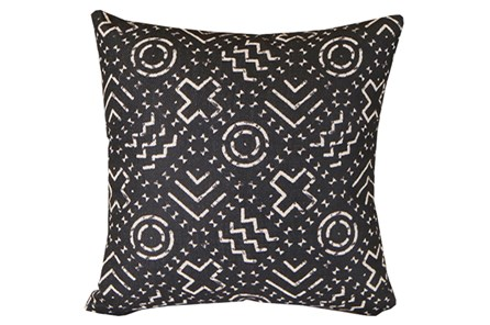 Accent Pillow-Black & Natural Mudcloth Pattern 18X18