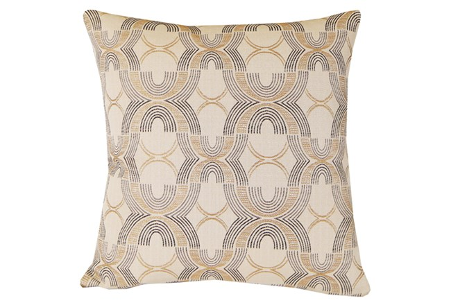 Accent Pillow-Black & Gold Metallic Embroidery 20X20 - 360