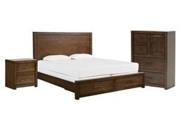 Riley Brownstone California King Storage 3 Piece Bedroom Set