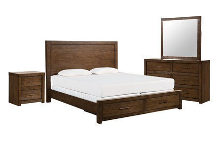 Riley Brownstone California King Storage 4 Piece Bedroom Set